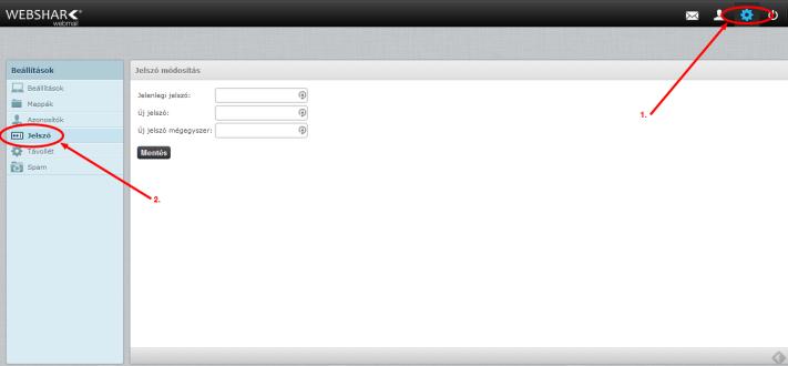 Websharkmail Jelszó módosítás