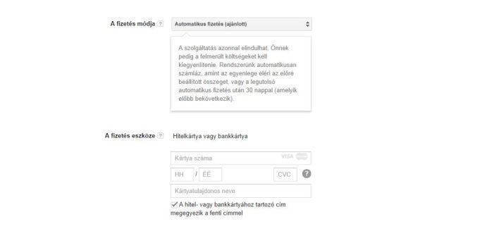 Adwords fiók létrehozása, harmadik lépés