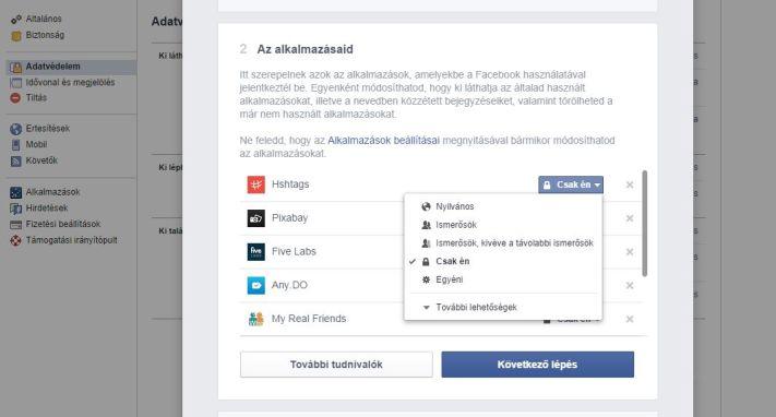 Facebook adatvédelmi beállítások, harmadik lépés