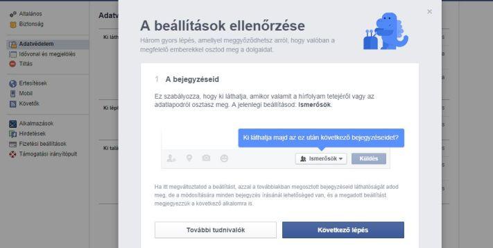 Facebook adatvédelmi beállítások, második lépés