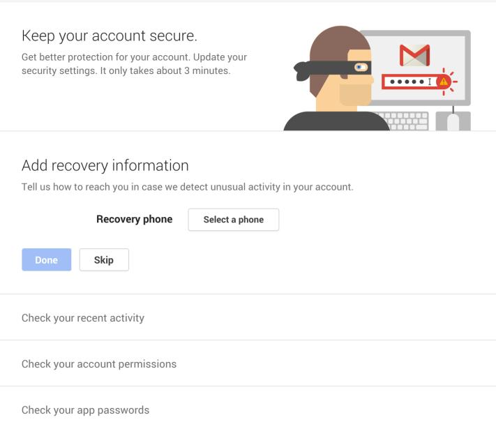 Google biztonsági varázsló