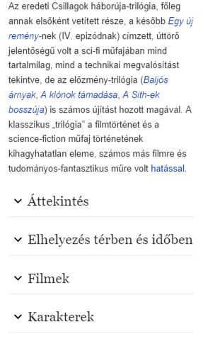 Csillagok háborúja Wikipédia-oldal mobilon