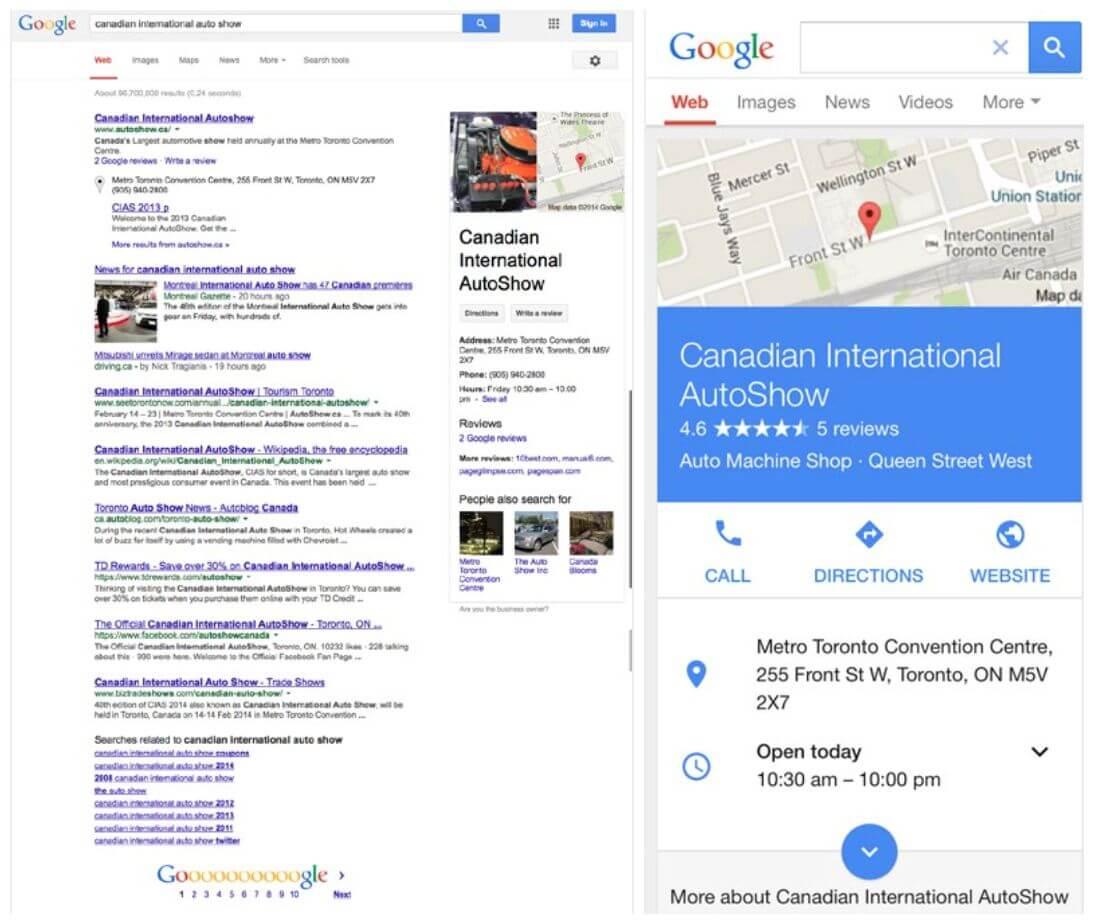 A tudáspanel megjelenés mobil és desktop találati oldalakon