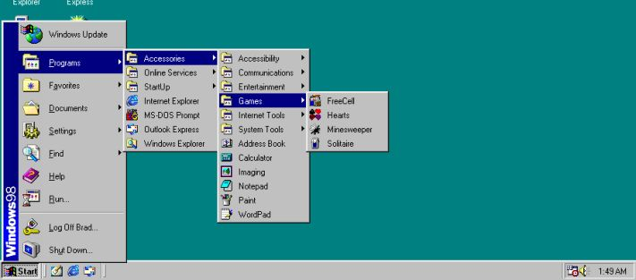 a windows 98 start menüje