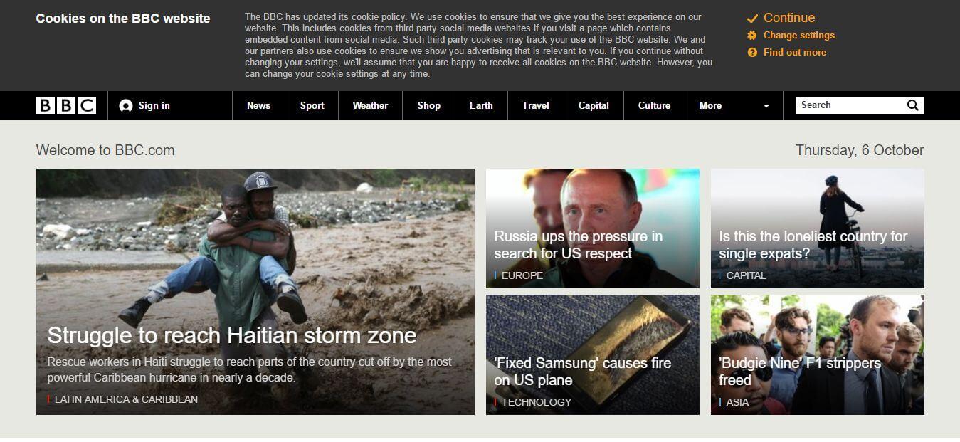 A BBC részletes cookie tájékoztatása, és a három link
