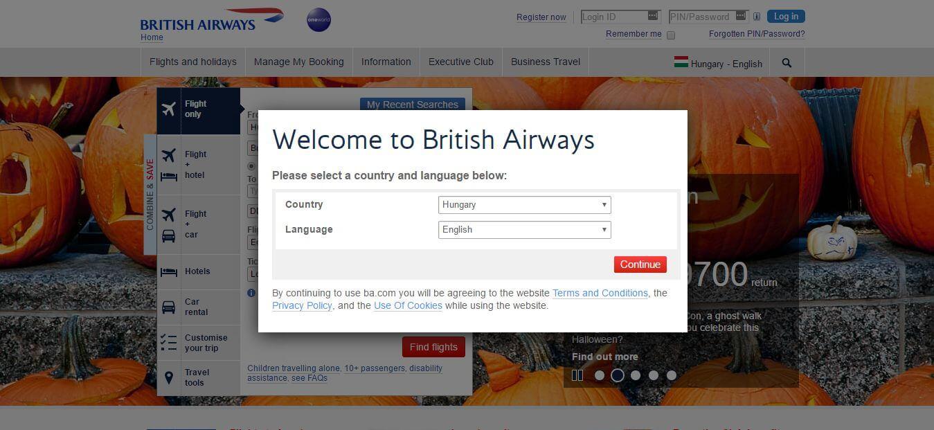 A British Airways pedig az induló beállításokkal kapcsolja össze a tájékoztatást