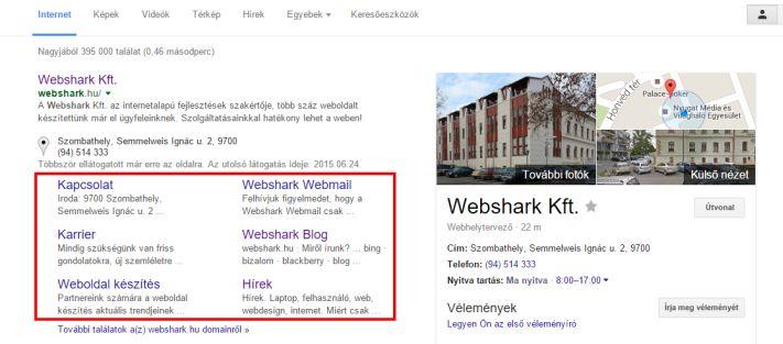 Webhelylinkek a Webshark oldalánál