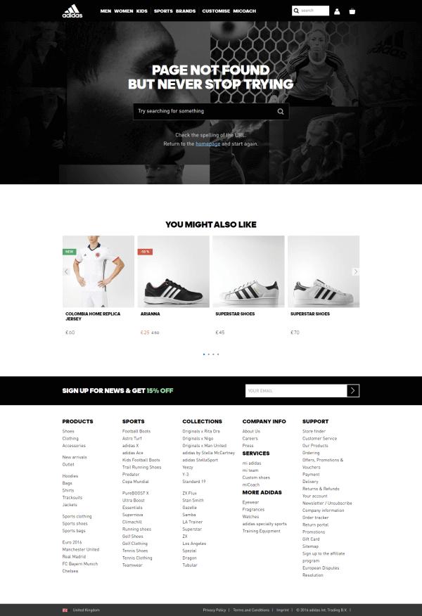 Itt a 404-es oldal kicsit talán nagynak tűnik, még egy oldaltérkép is egy az egyben helyett kapott rajta, de minden bizonnyal hatékony