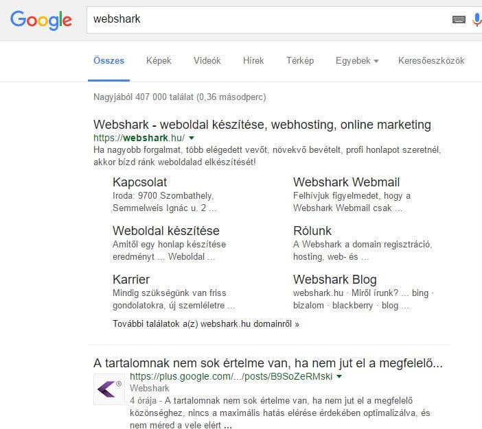 A Google feketével írt találati oldala