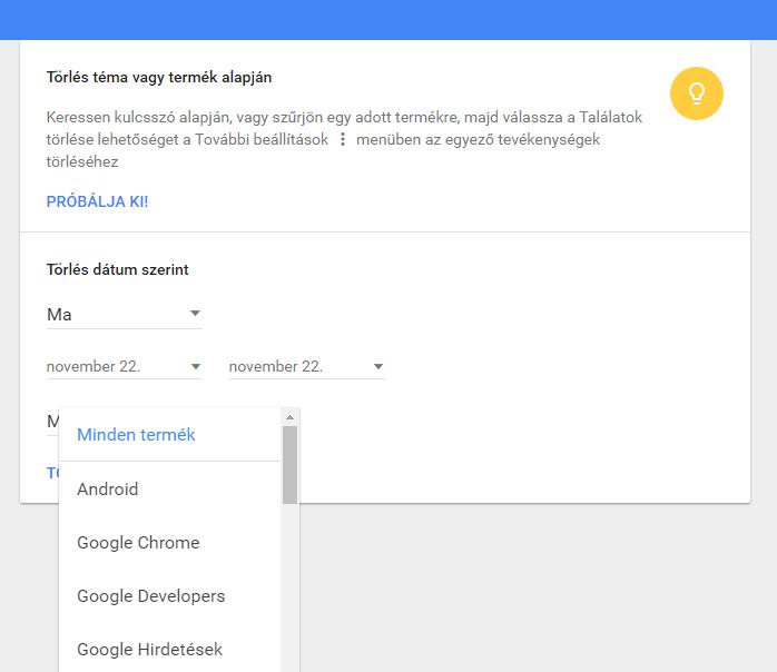 Google, saját tevékenységek, törlés