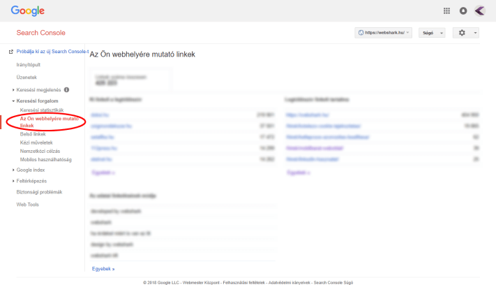 Backlinkek a Search Console-ban