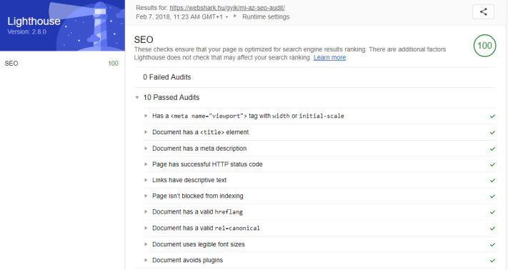 Google Lighthouse SEO audit eredmények a Webshark egyik oldalánál