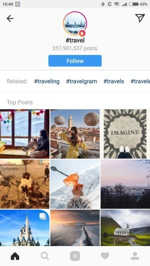 Instagram hashtag követés
