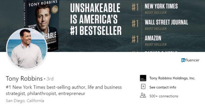 Tony Robbins Linkedin háttérkép