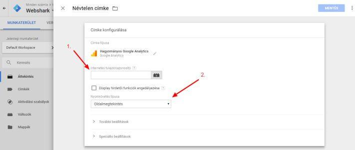 Hagyományos Google Analytics címke konfigurálása