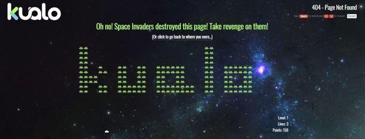 A Kualo játékos 404-es oldala
