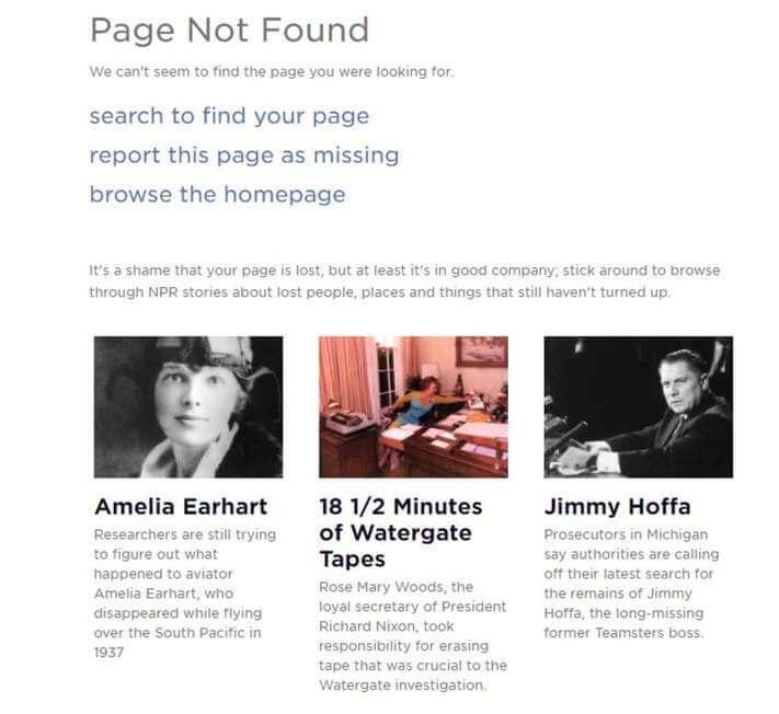 Az NPR 404-ese az eltűnt személyek felsorolásával