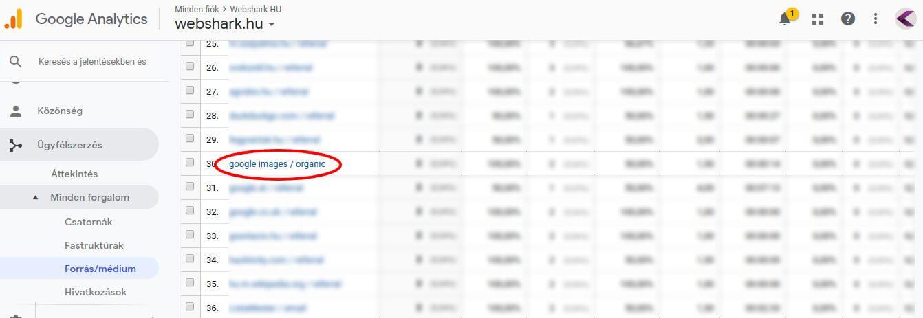 Képkeresési forgalom a Google Analyticsben
