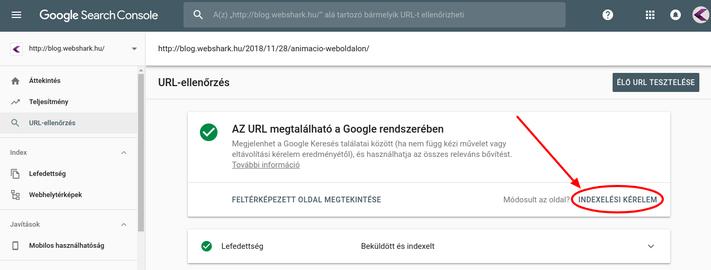 URL indexeltetése az új Search Console-ban