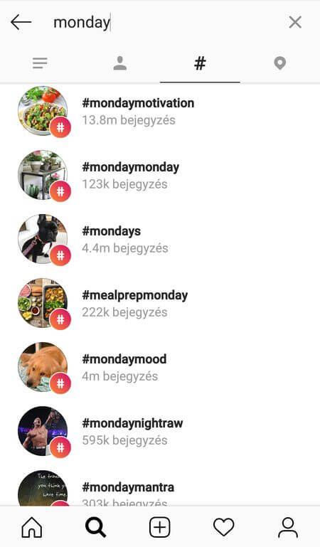 Napi hashtagek az Instagramon