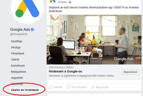 Facebook hirdetési adatok