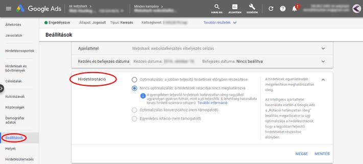 Hirdetésrotáció beállítása a Google Adsben