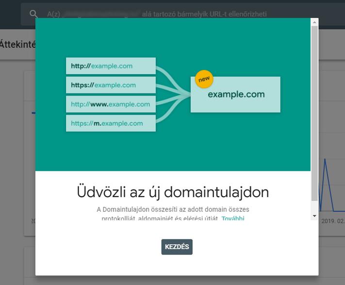 Új domaintulajdon a Search Console-ban