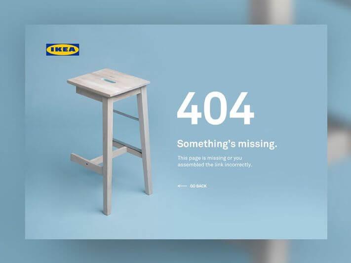 404-es oldal összhangban a márkával - az IKEA 404-es oldala