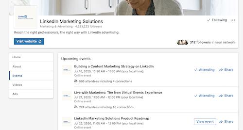 Virtuális esemény menüpontja a LinkedInen